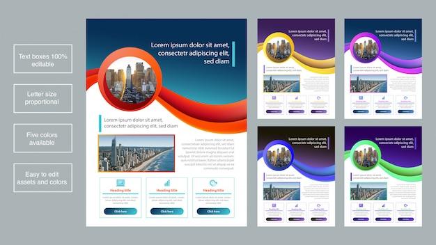 Coleção de modelo de folheto de negócios coloridos