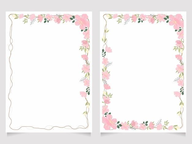 Coleção de modelo de fundo de cartão de convite de ramo de flor de cerejeira 5x7