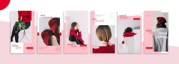 Coleção de modelo de história de mídia social criativa feminina e venda