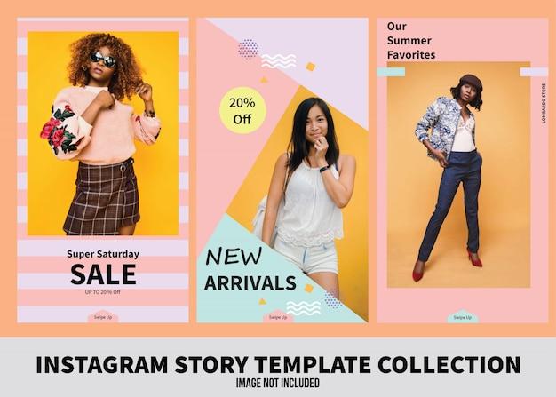 Coleção de modelo de história de vendas do instagram