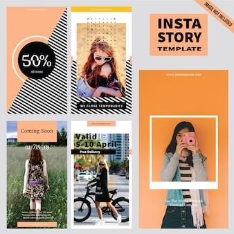 Coleção de modelo de história do instagram de moda
