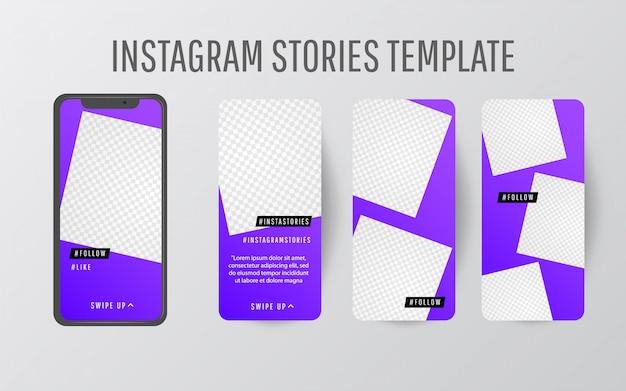 Coleção de modelo de história editável com cores de tendência e formas triangulares