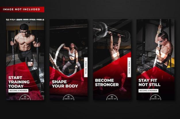 Coleção de modelo de histórias de instagram de ginásio e fitness.