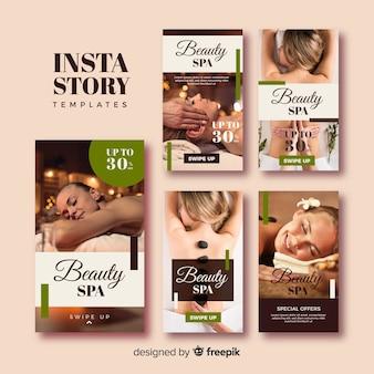Coleção de modelo de histórias de instagram spa