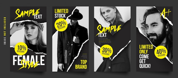 Coleção de modelo de histórias de venda de moda elegante