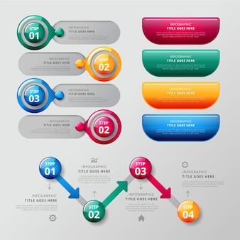 Coleção de modelo de infográfico de elementos brilhantes