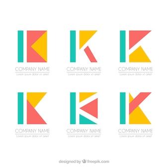 Coleção de modelo de letra k do logo geométrico