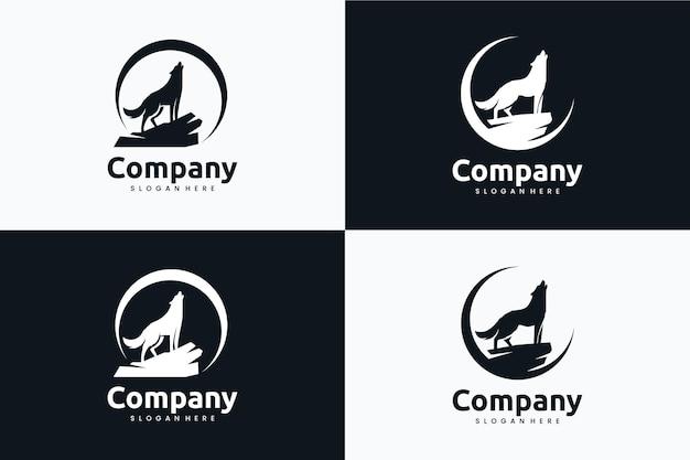 Coleção de modelo de lobo da lua, inspiração para design de logotipo