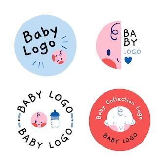 Coleção de modelo de logotipo circular de bebê