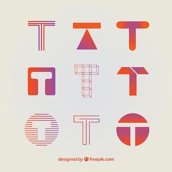 Coleção de modelo de logotipo da letra t