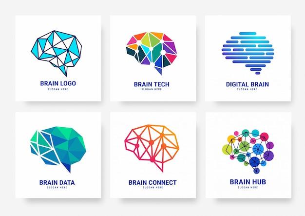 Coleção de modelo de logotipo de cérebro