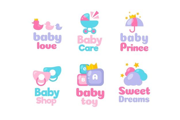 Coleção de modelo de logotipo de elementos de bebê