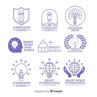Coleção de modelo de logotipo de escola plana
