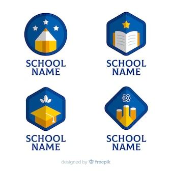 Coleção de modelo de logotipo de escola plana