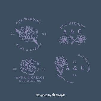 Coleção de modelo de logotipo de florista de casamento