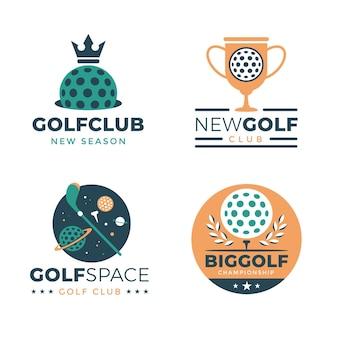 Coleção de modelo de logotipo de golfe em design plano