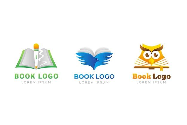 Coleção de modelo de logotipo de livro gradiente fofo