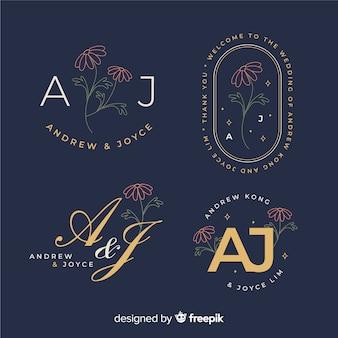 Coleção de modelo de logotipo de monograma de casamento