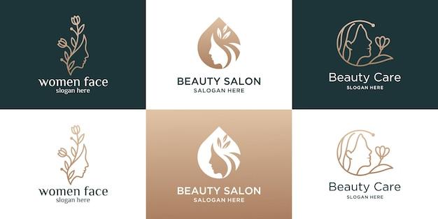 Coleção de modelo de logotipo de salão de beleza feminino