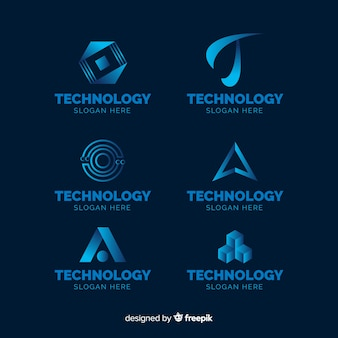 Coleção de modelo de logotipo de tecnologia gradiente