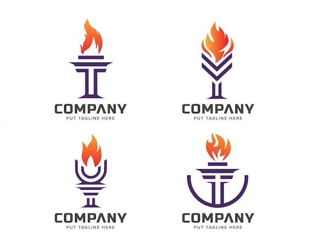 Coleção de modelo de logotipo de tocha