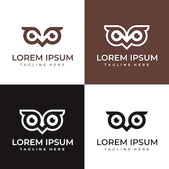 Coleção de modelo de logotipo de visão de coruja