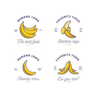 Coleção de modelo de logotipo engraçado de banana