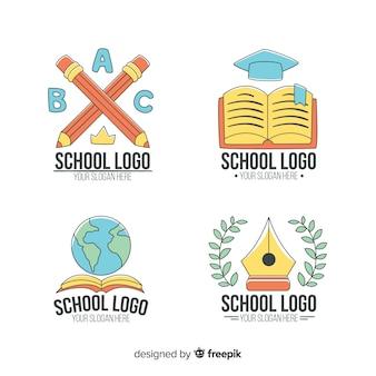 Coleção de modelo de logotipo escola mão desenhada