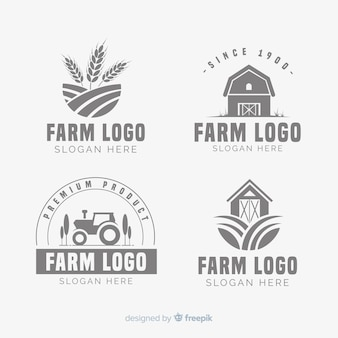 Coleção de modelo de logotipo fazenda plana