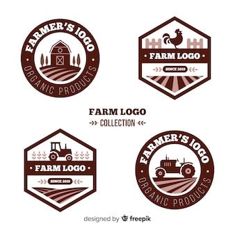 Coleção de modelo de logotipo fazenda plana