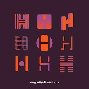 Coleção de modelo de logotipo h