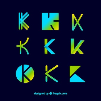 Coleção de modelo de logotipo k