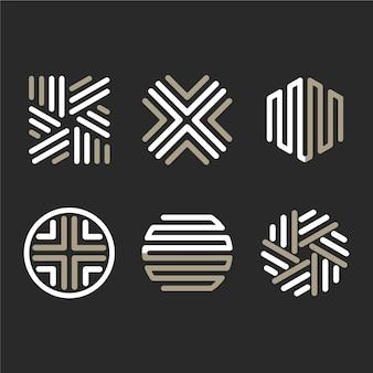 Coleção de modelo de logotipo linear abstrato