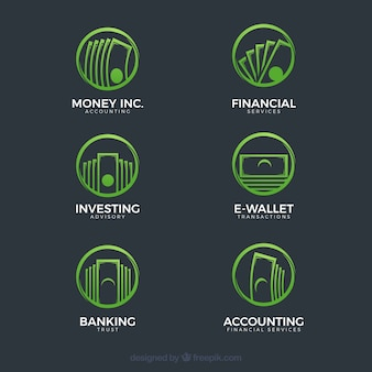 Coleção de modelo de logotipo moderno dinheiro verde