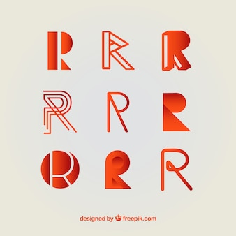 Coleção de modelo de logotipo r