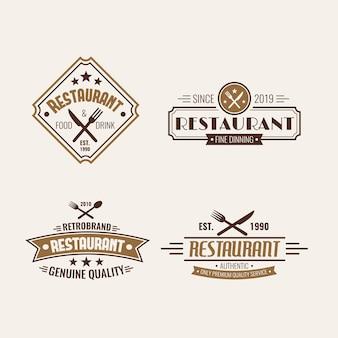 Coleção de modelo de logotipo retrô de restaurante