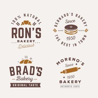 Coleção de modelo de logotipo retrô padaria
