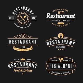 Coleção de modelo de logotipo vintage de restaurante