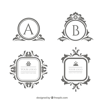 Coleção de modelo de logotipo vintage e luxo