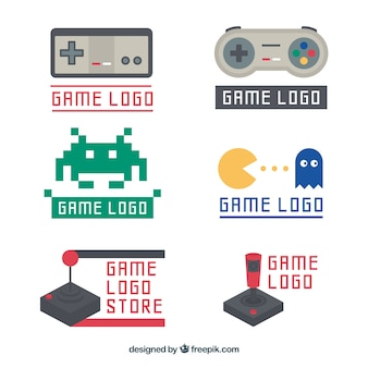 Coleção de modelo de logotipo vintage joystick