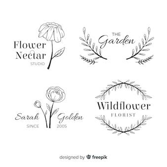 Coleção de modelo de logotipos de florista de casamento
