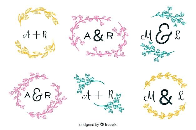 Coleção de modelo de logotipos de monograma de casamento