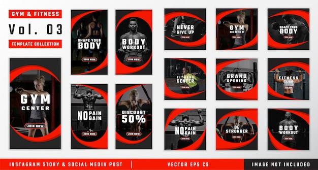 Coleção de modelo de mídia social de ginásio e fitness