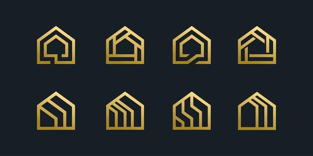 Coleção de modelo de pacote de ícone de logotipo de casa