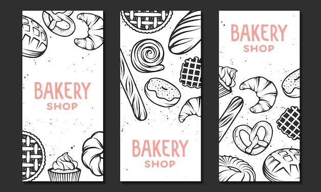 Coleção de modelo de panfleto de padaria linear.