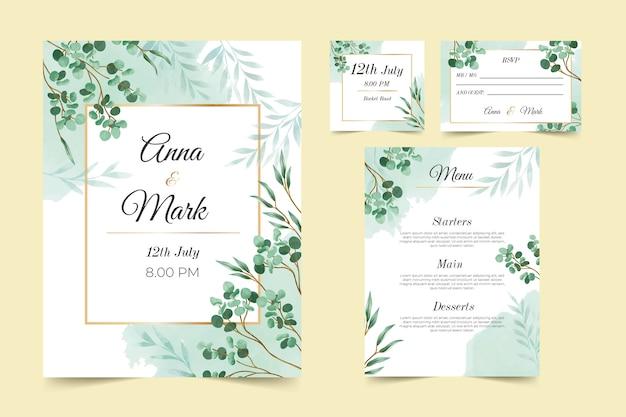 Coleção de modelo de papelaria de casamento floral