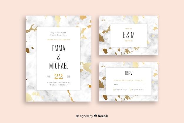 Coleção de modelo de papelaria de casamento plana