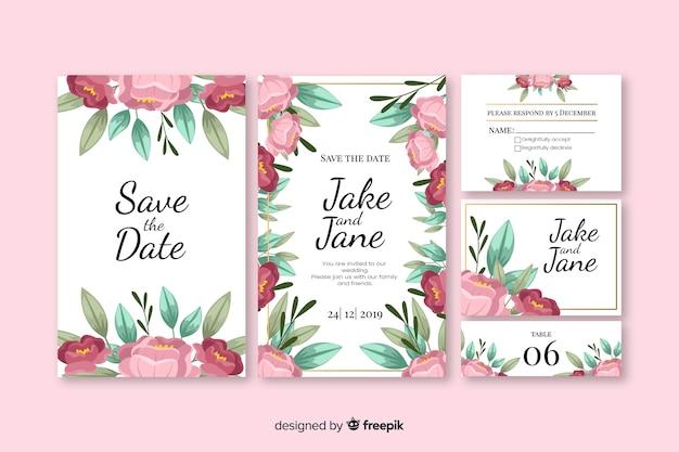Coleção de modelo de papelaria floral casamento