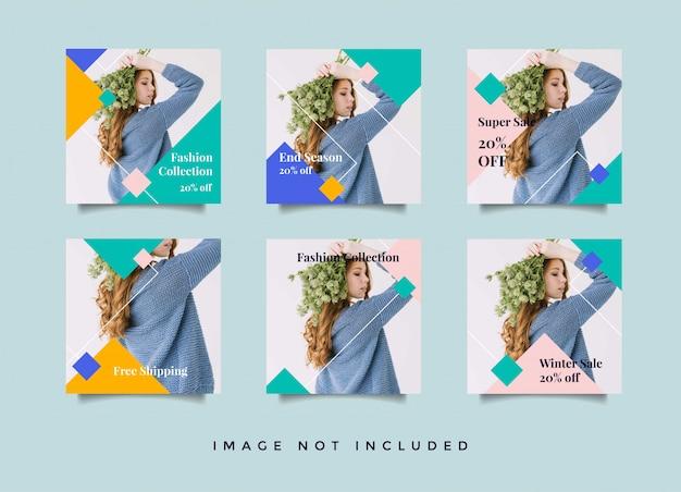Coleção de modelo de postagem de banner de moda