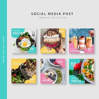 Coleção de modelo de postagem de instagram culinária